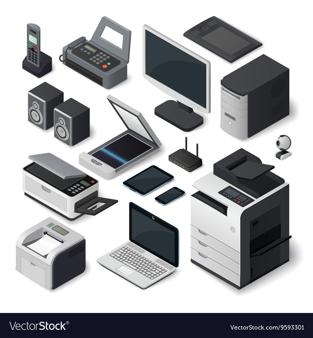 Isometric office equipment set vector image