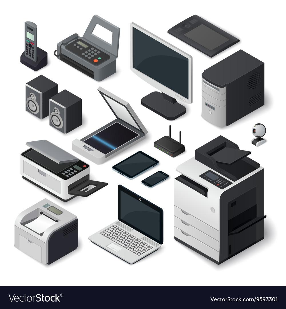 Isometric office equipment set