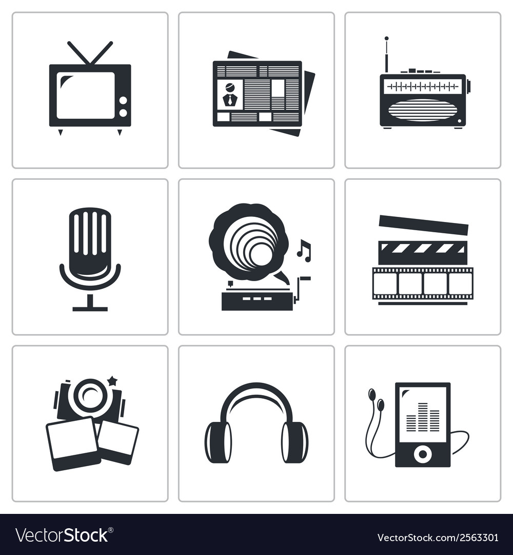 Media icons set - video news music TV recording