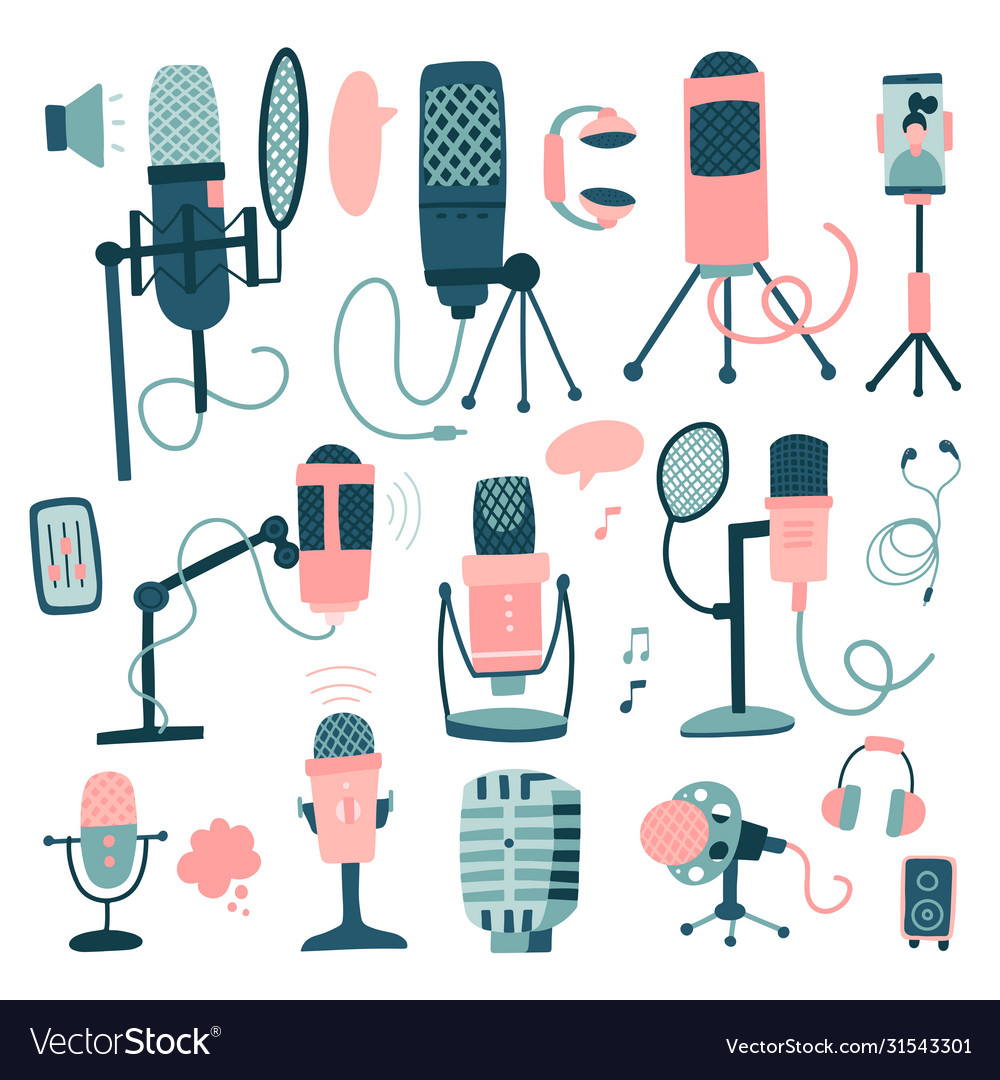 Microphones and dictaphone big set hand drawn