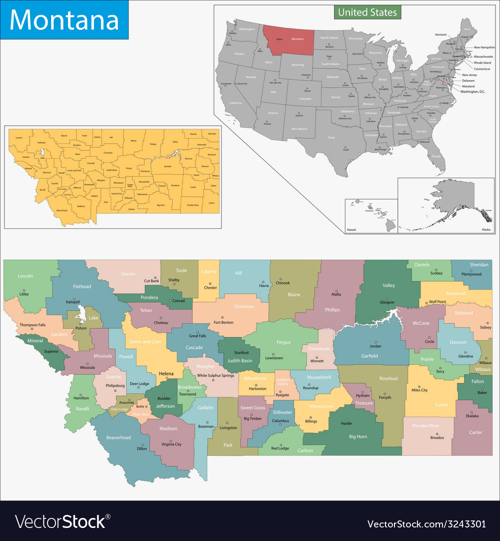 Montana Map Royalty Free Vector Image Vectorstock