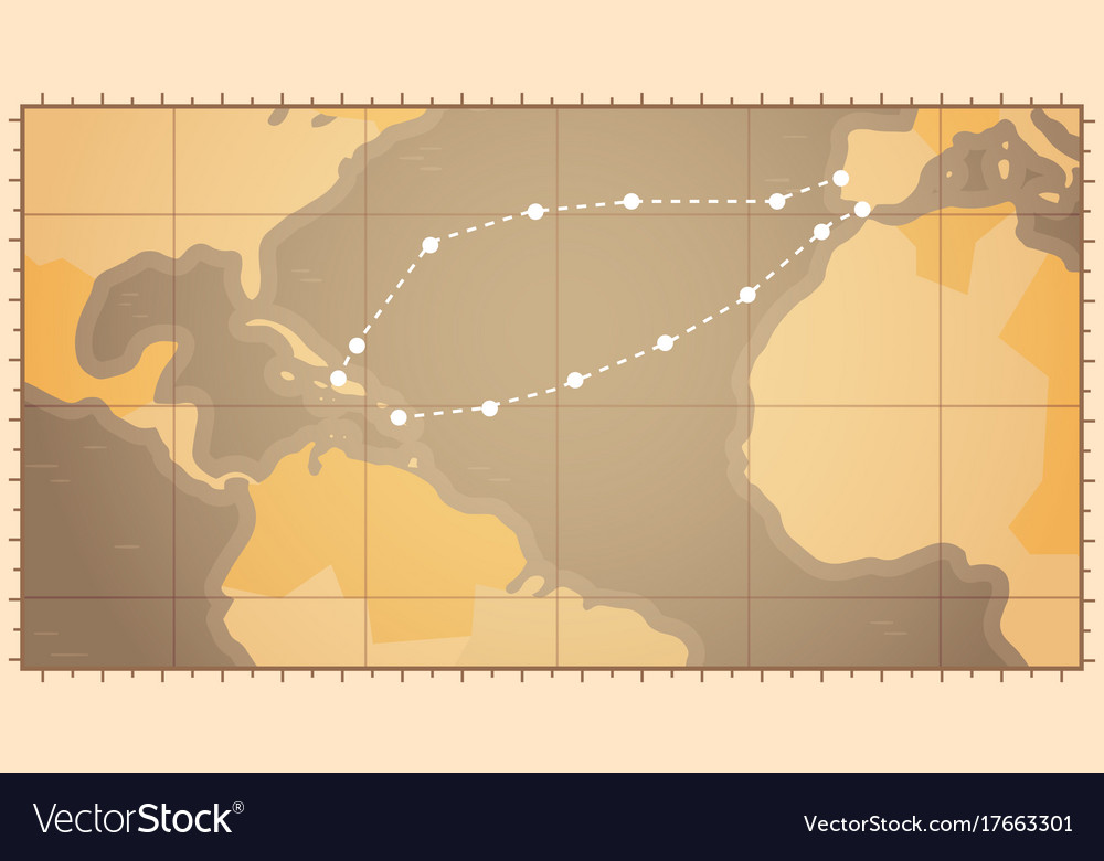 Retro World Map With Columbus Route Happy Colombo Vector Image