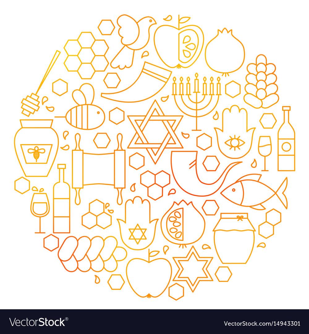 Rosh hashanah line icon circle