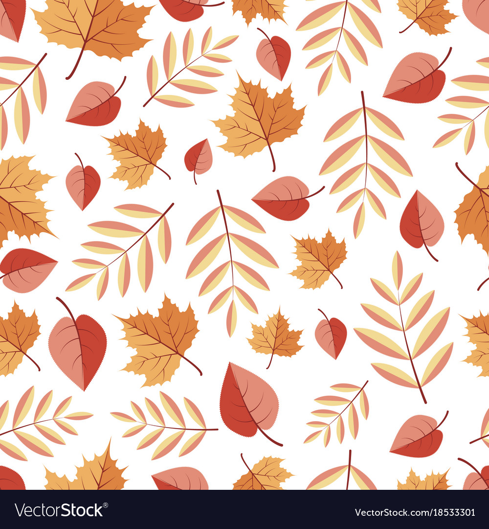 Seamless pattern with isolited autumn leaves on a