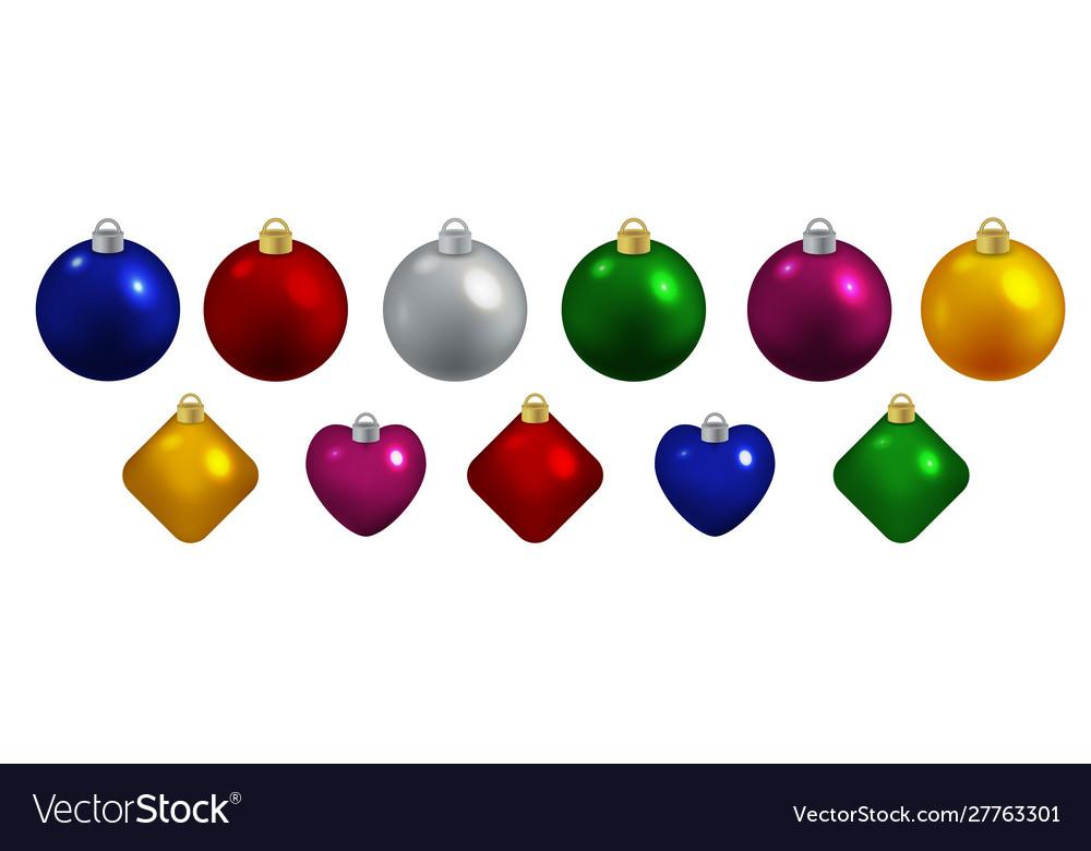 Set decorative toys for christmas balls hearts