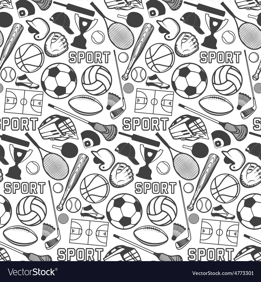 Sport pattern with vintage badges and labels