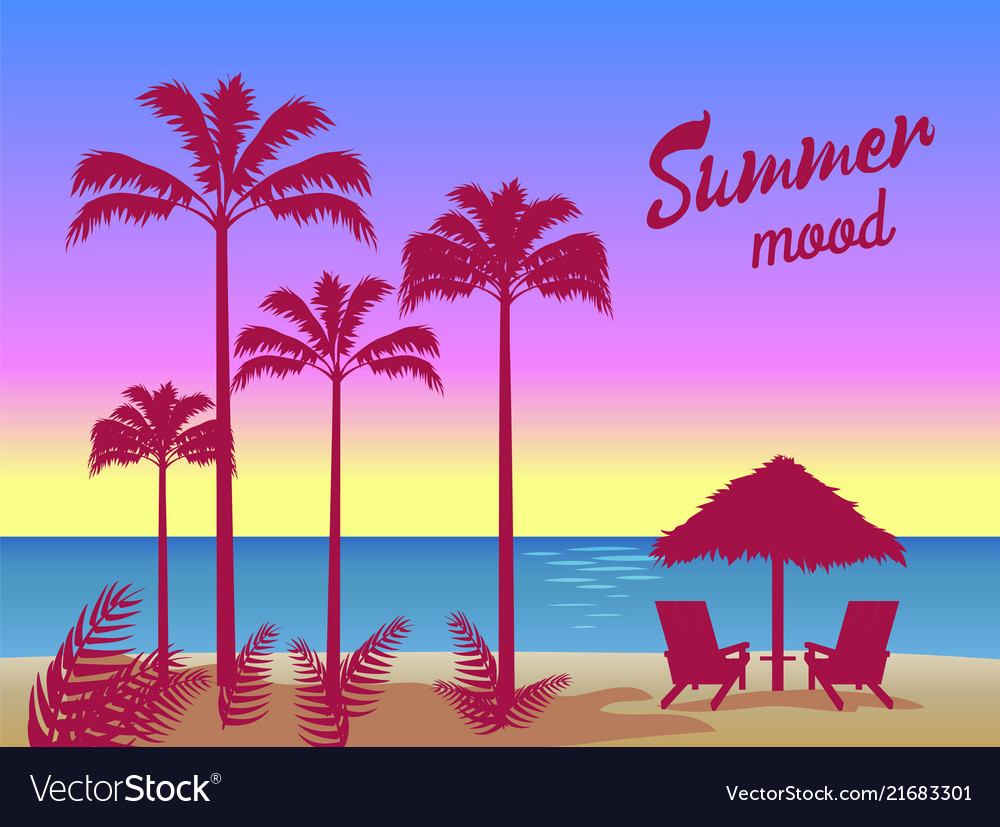 Summer mood poster palm trees umbrella two chaise