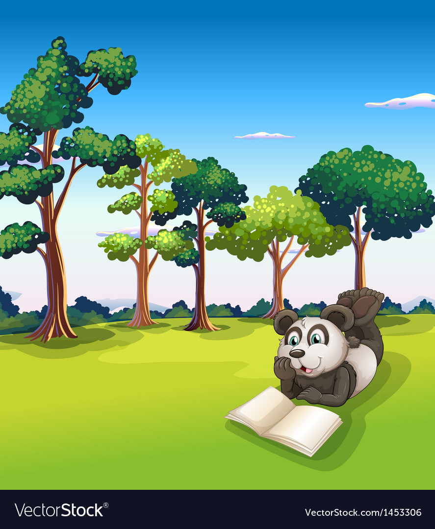 A panda lying at the grass while reading a book vector image