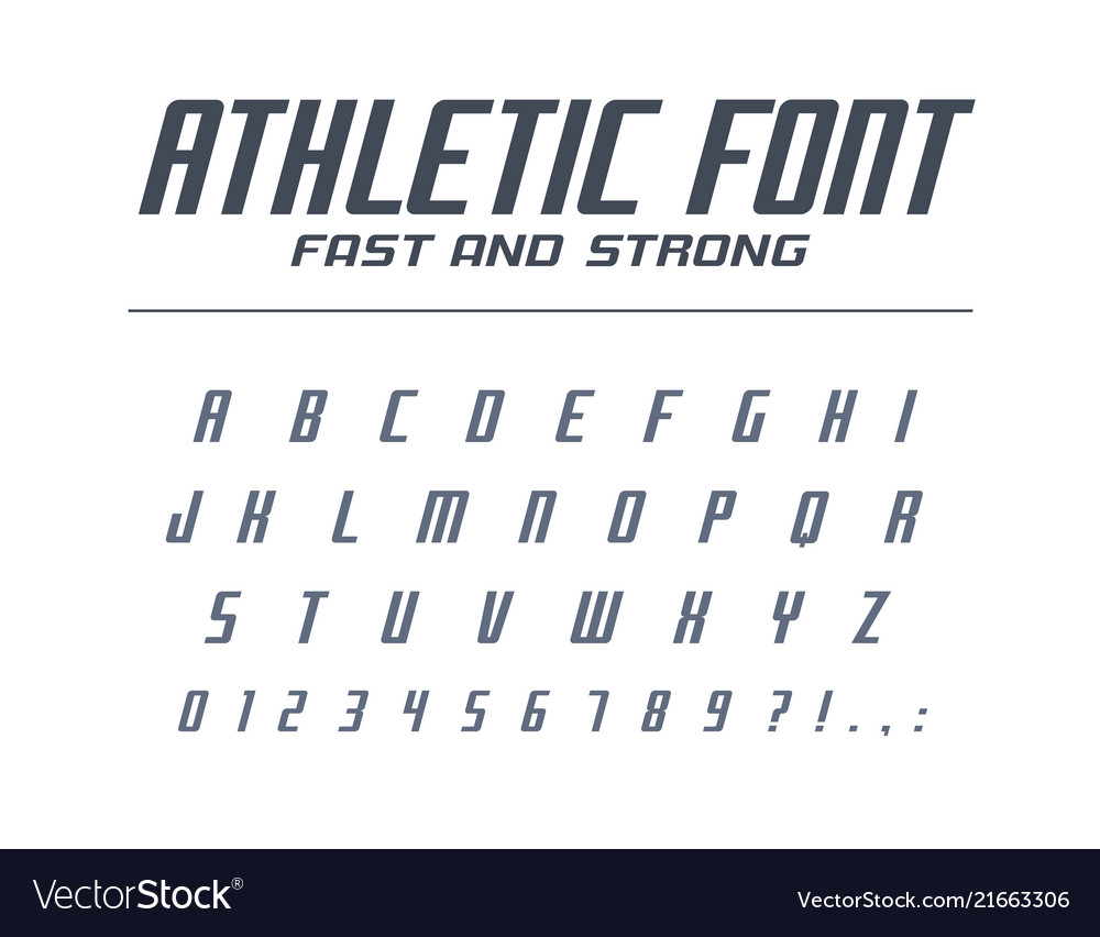 Athletic fast and strong universal font sport run