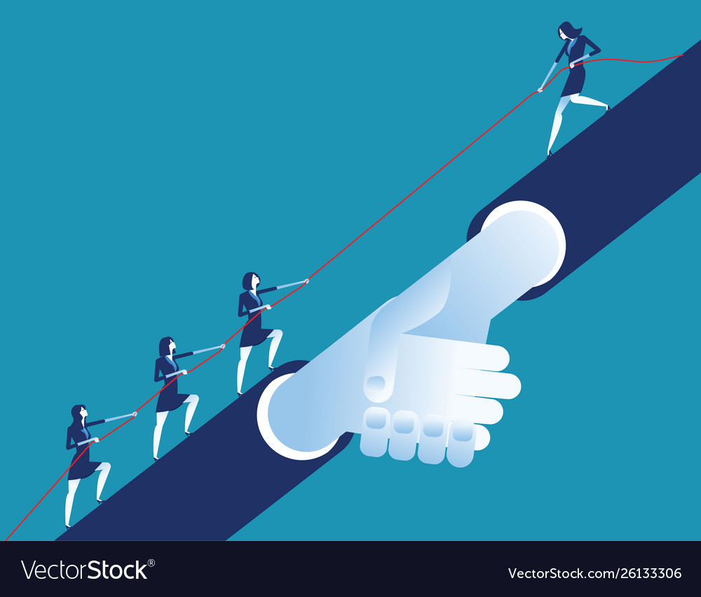Leader helping business team concept business