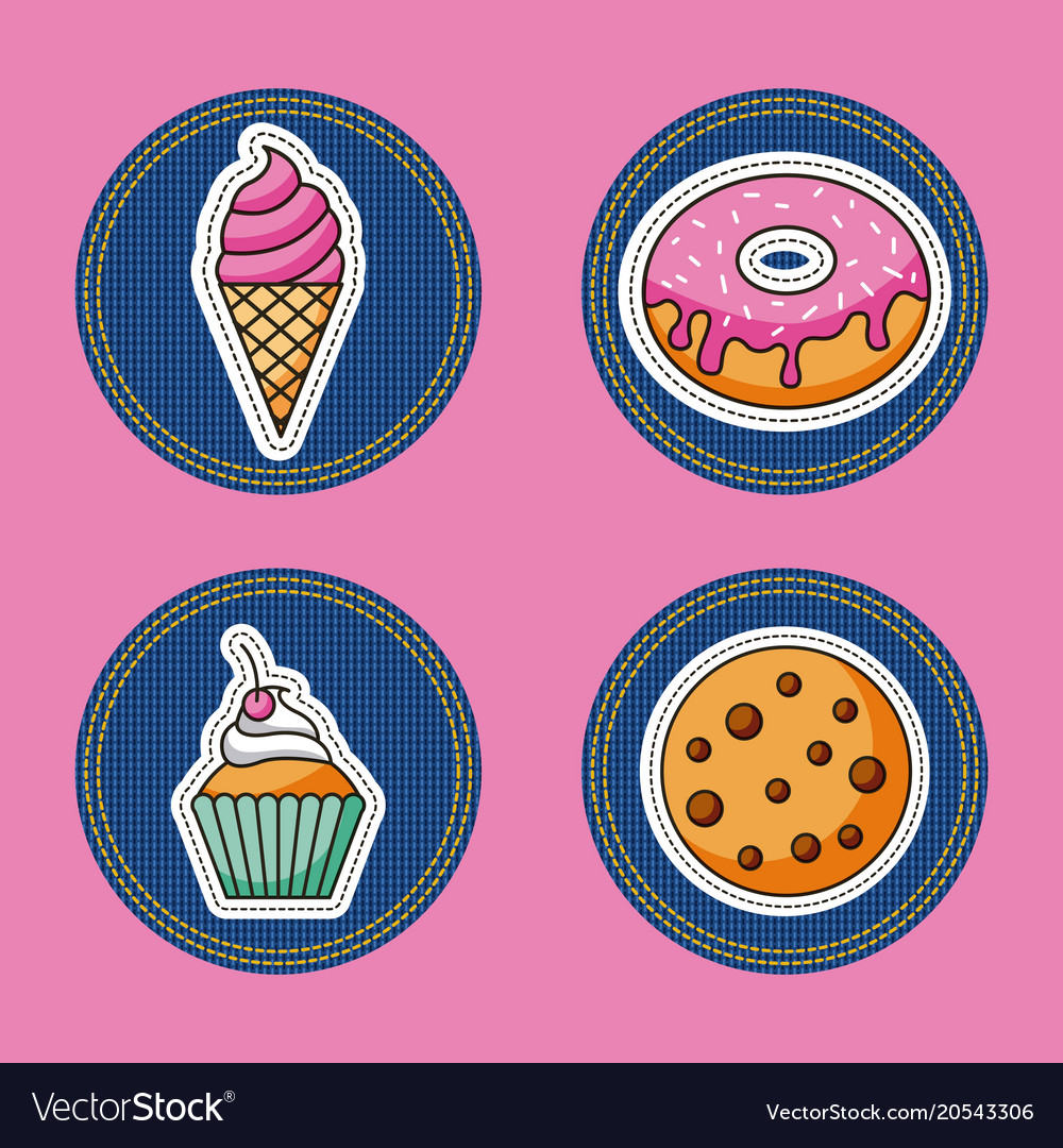 Patches dessert food vector image