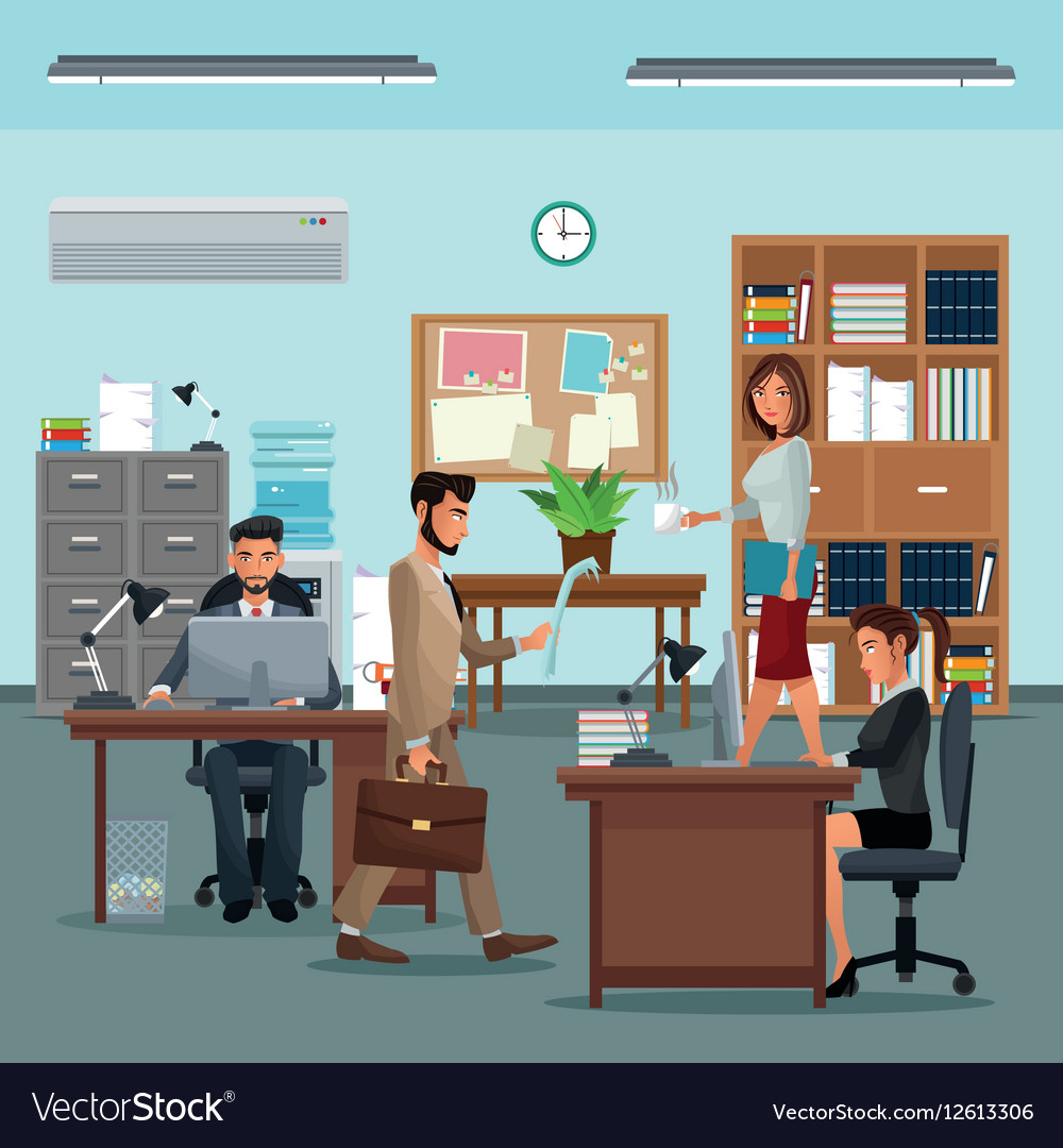 People Workplace With Desk Bookshelf Cabinet Clock Vector Image