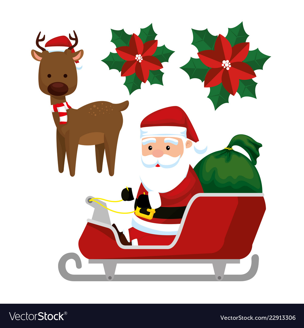 Santa claus in the sled and deer to celebrate