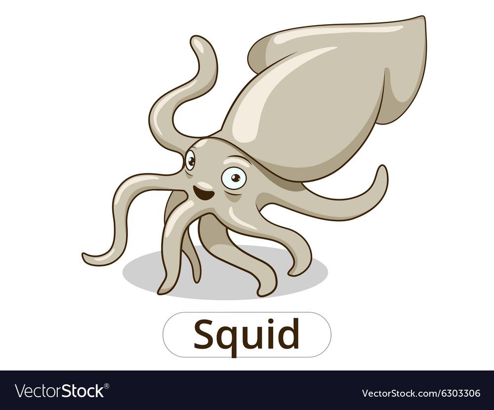 Squid underwater animal cartoon vector image