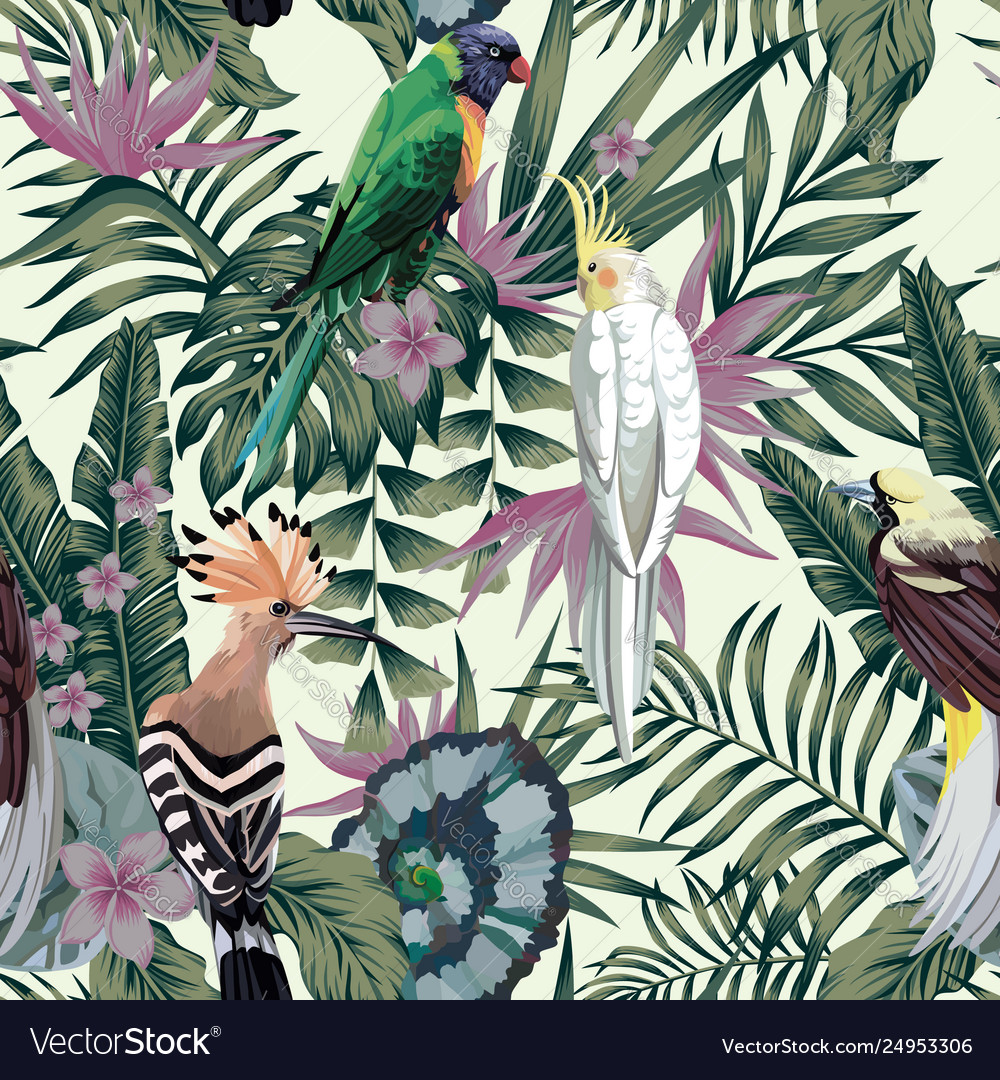 Tropical birds plants leaves flowers abstract