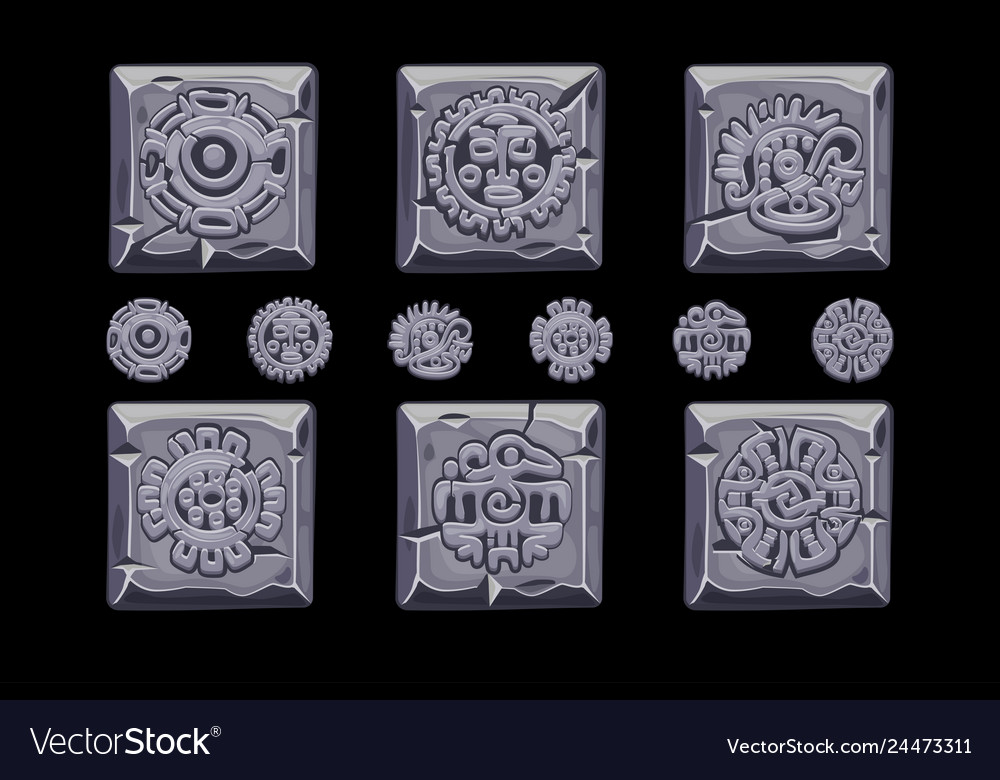 Ancient mexican mythology symbols isolated on