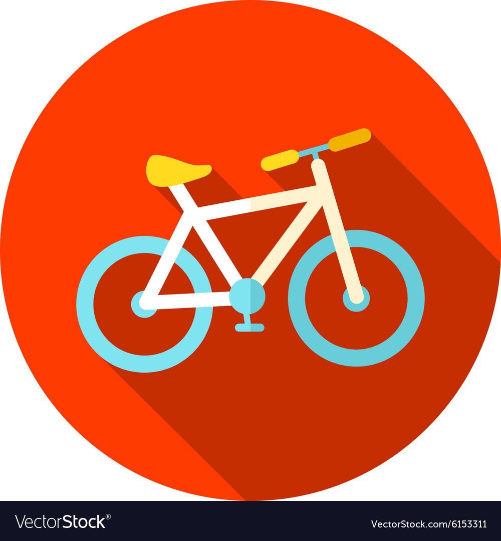 Bicycle flat icon with long shadow vector image