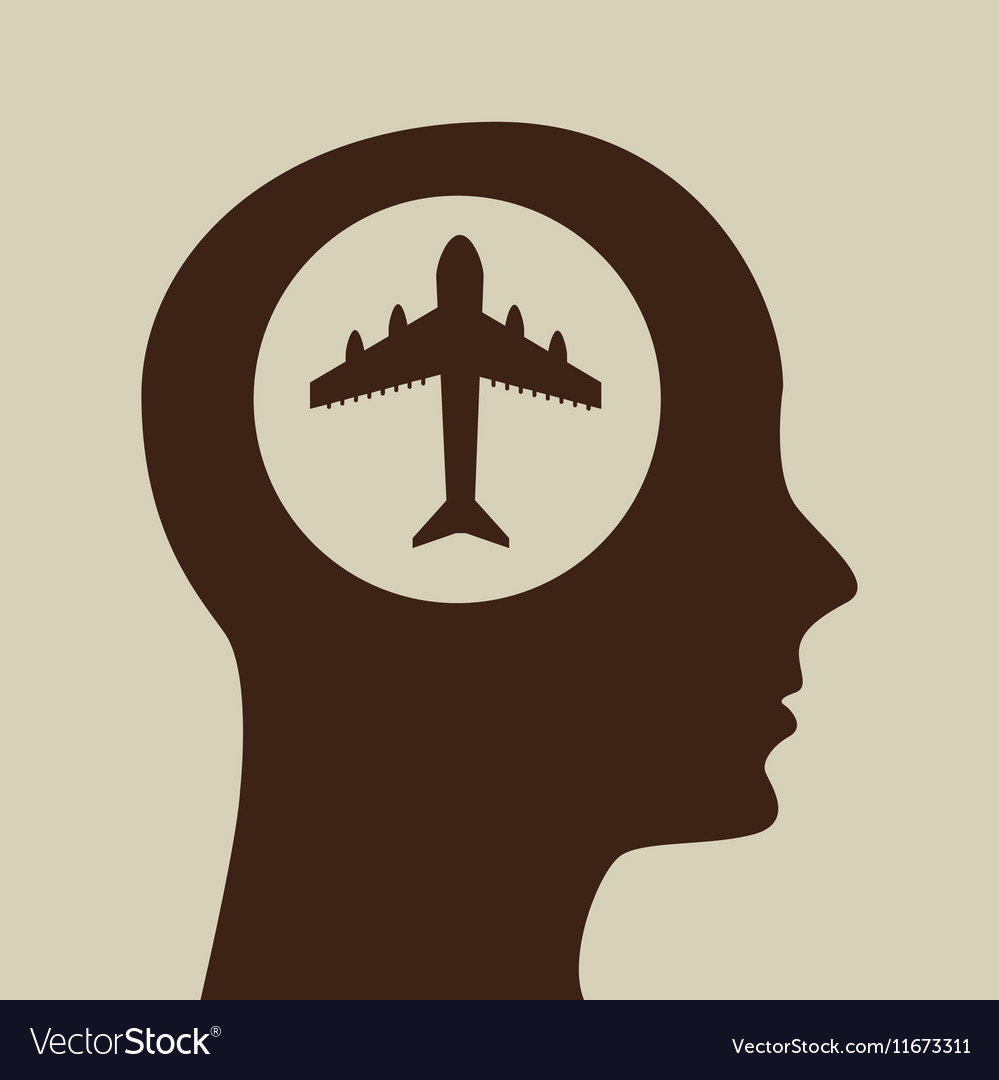 Blue silhouette head airplane icon design