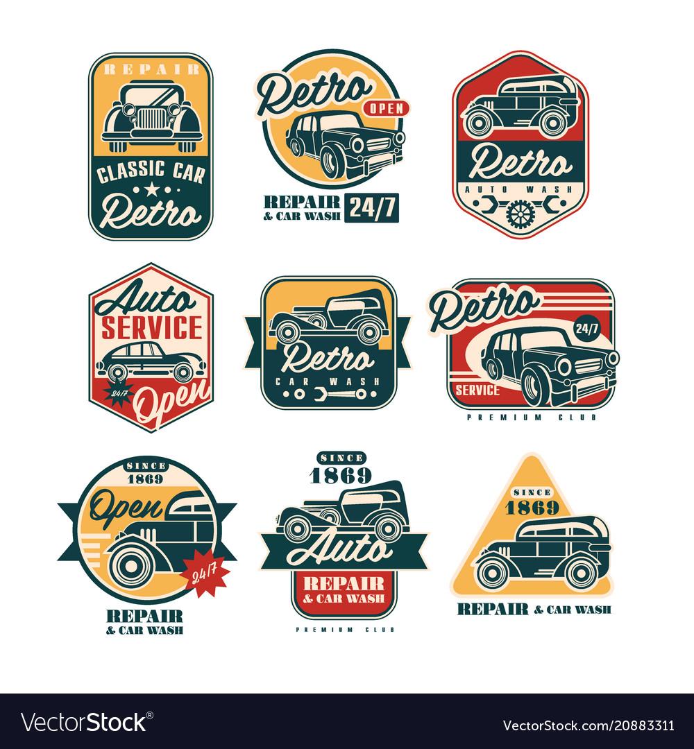 Car repair vintage style labels set auto service