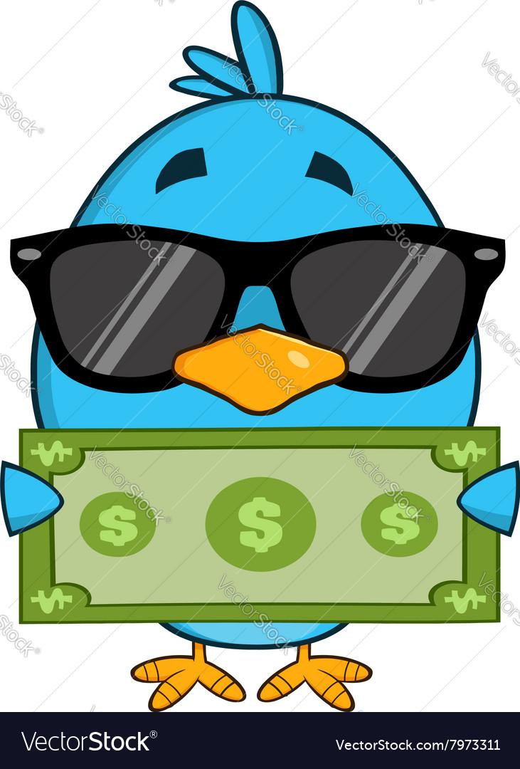 Cute Blue Bird with Money Cartoon