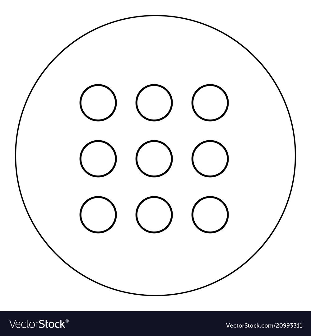 Dial button icon black color in circle