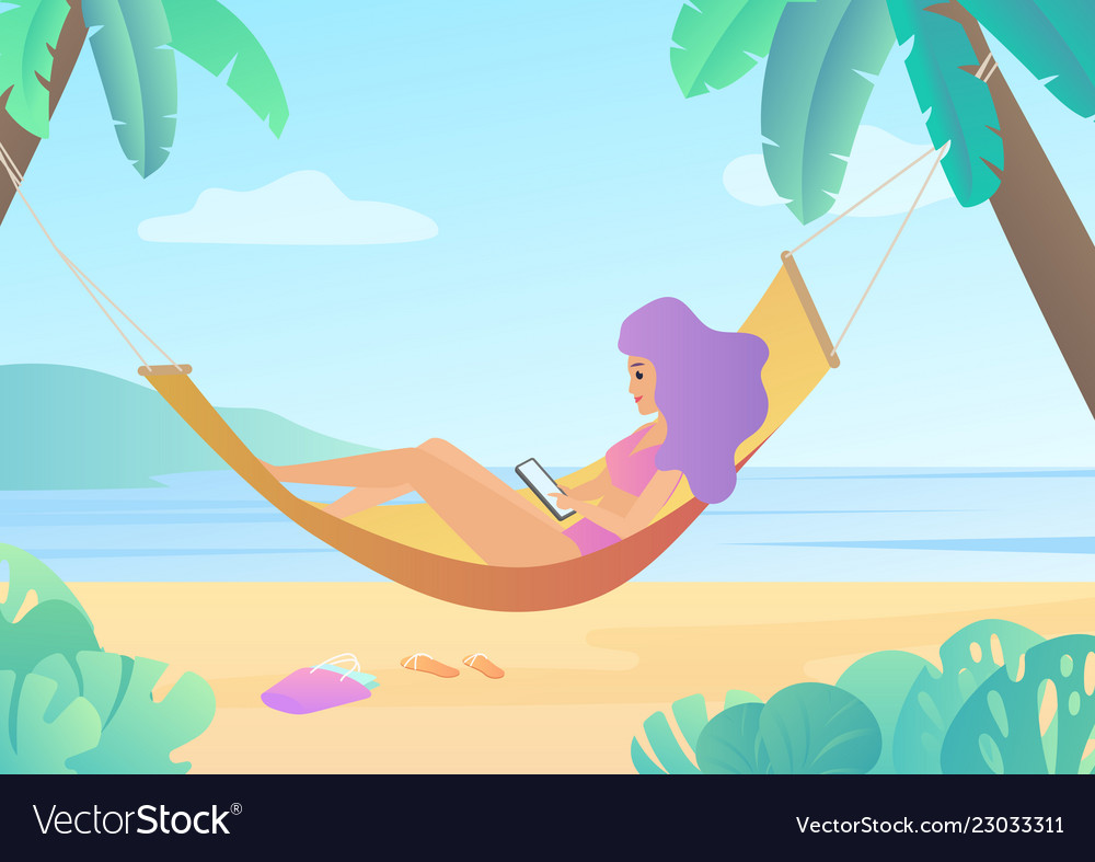 Girl in swimsuit in hammock between palm trees
