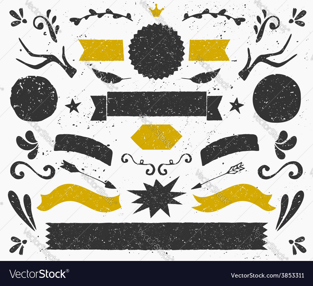Gold and black vintage style design elements set vector image