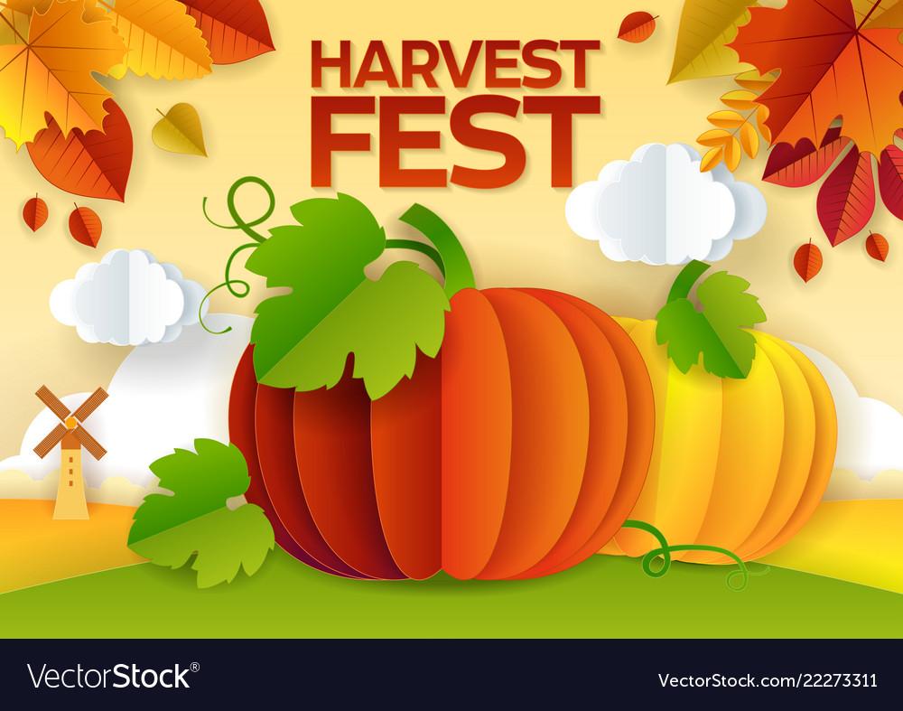 Harvest fest paper cut poster banner