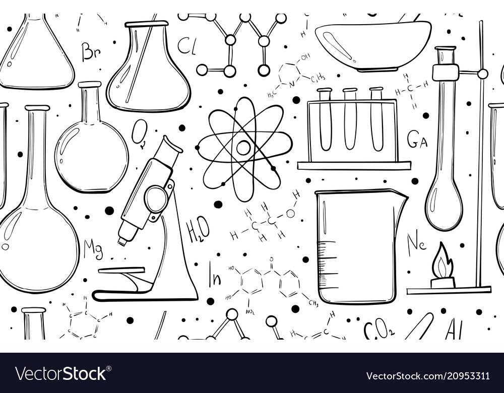 Laboratory equipment sketch seamless pattern