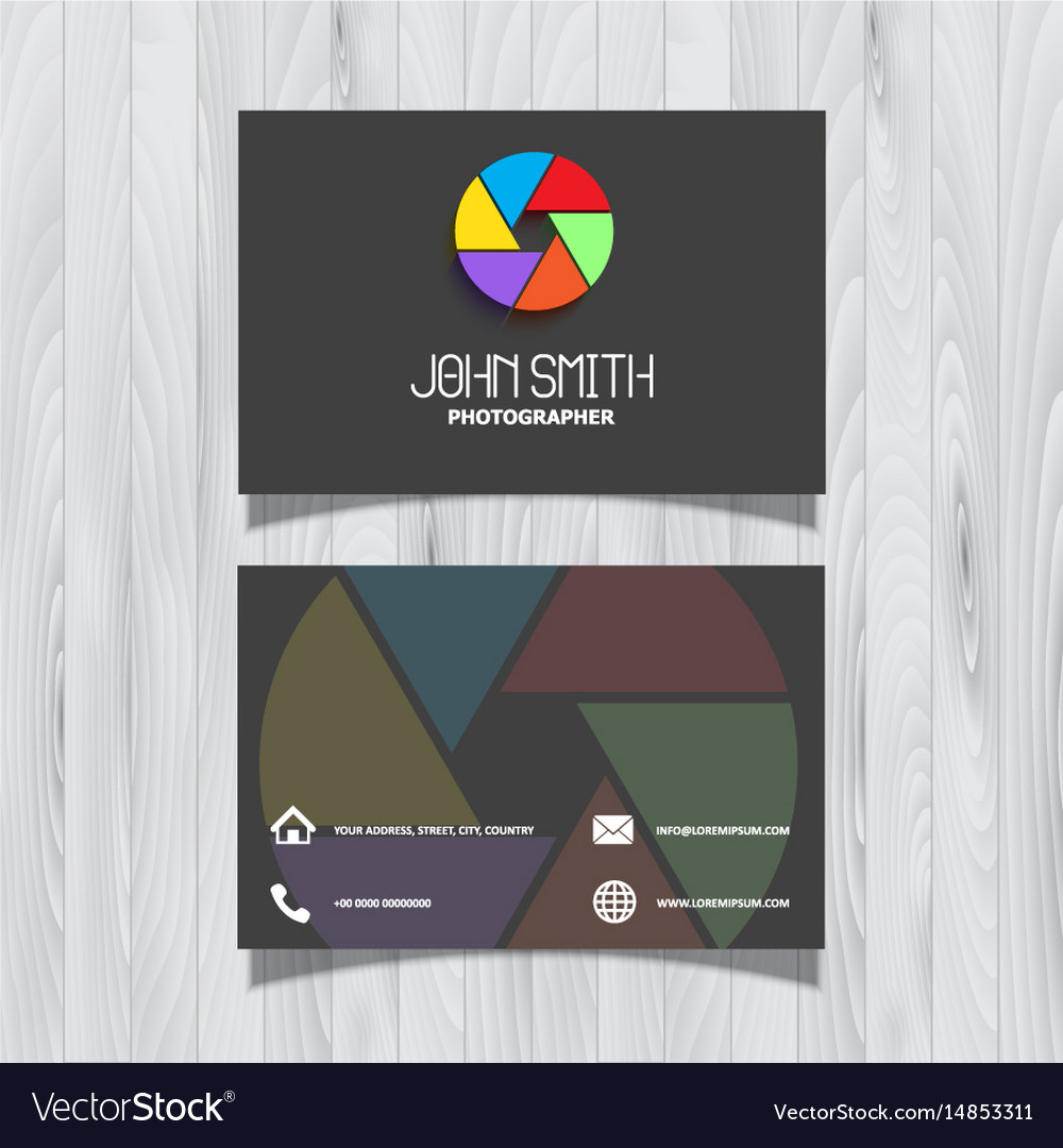 Photography business card design royalty free vector image photography business card design vector image colourmoves