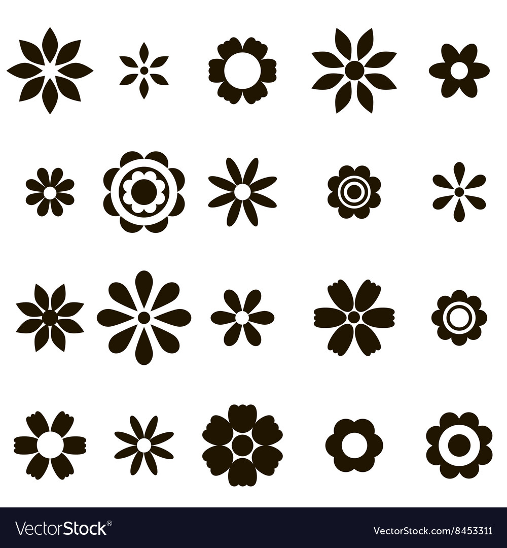 Set of black flat flower icons