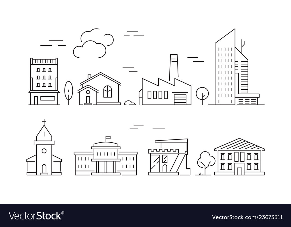 Urban buildings icon houses living rooms villa