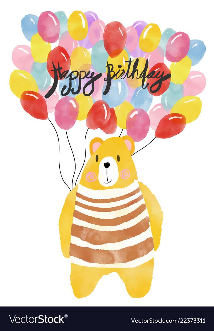 Watercolour happy birthday card bear holding