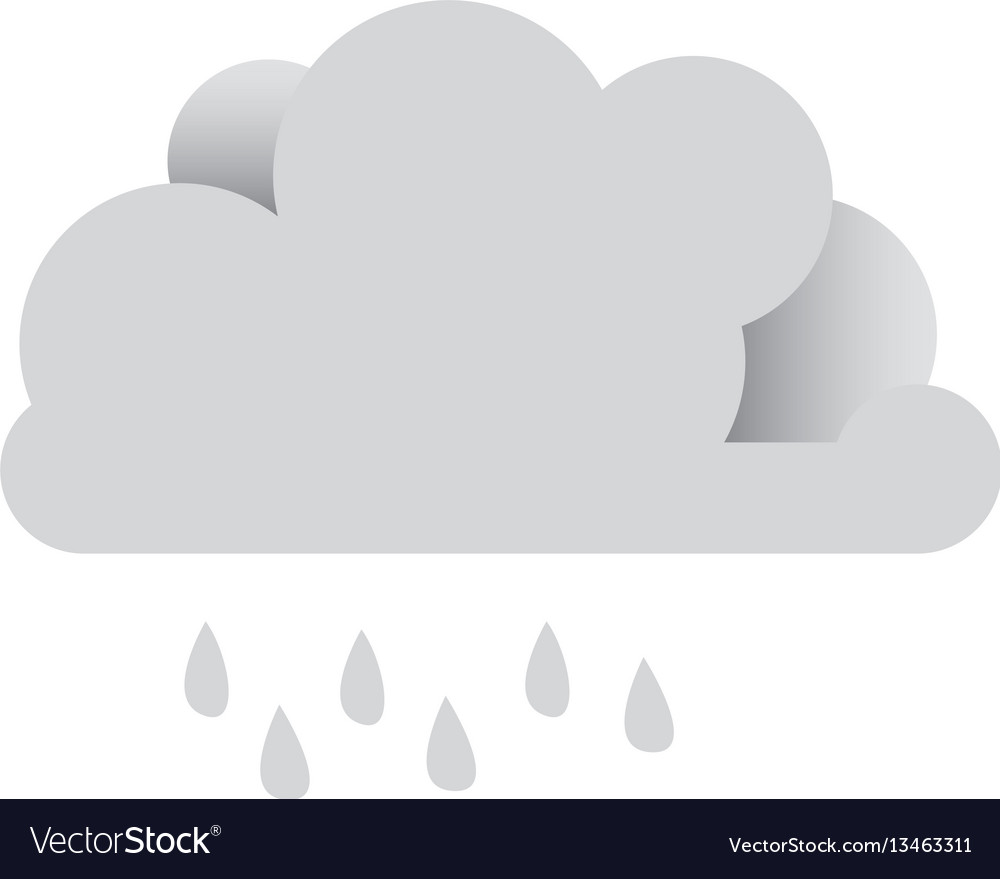 White sticker cloud with rain icon