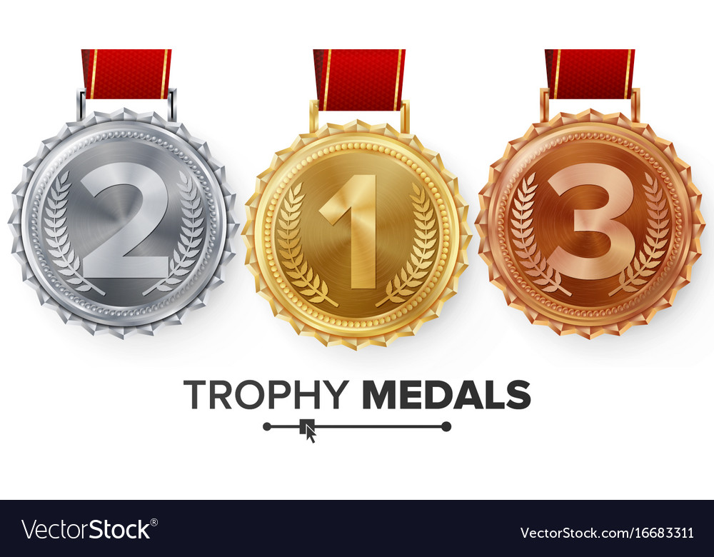 Winner gold silver bronze medals set