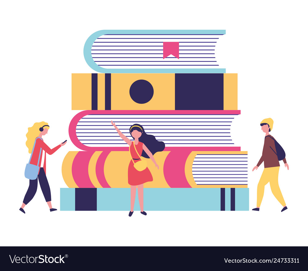 Young people with stack books study