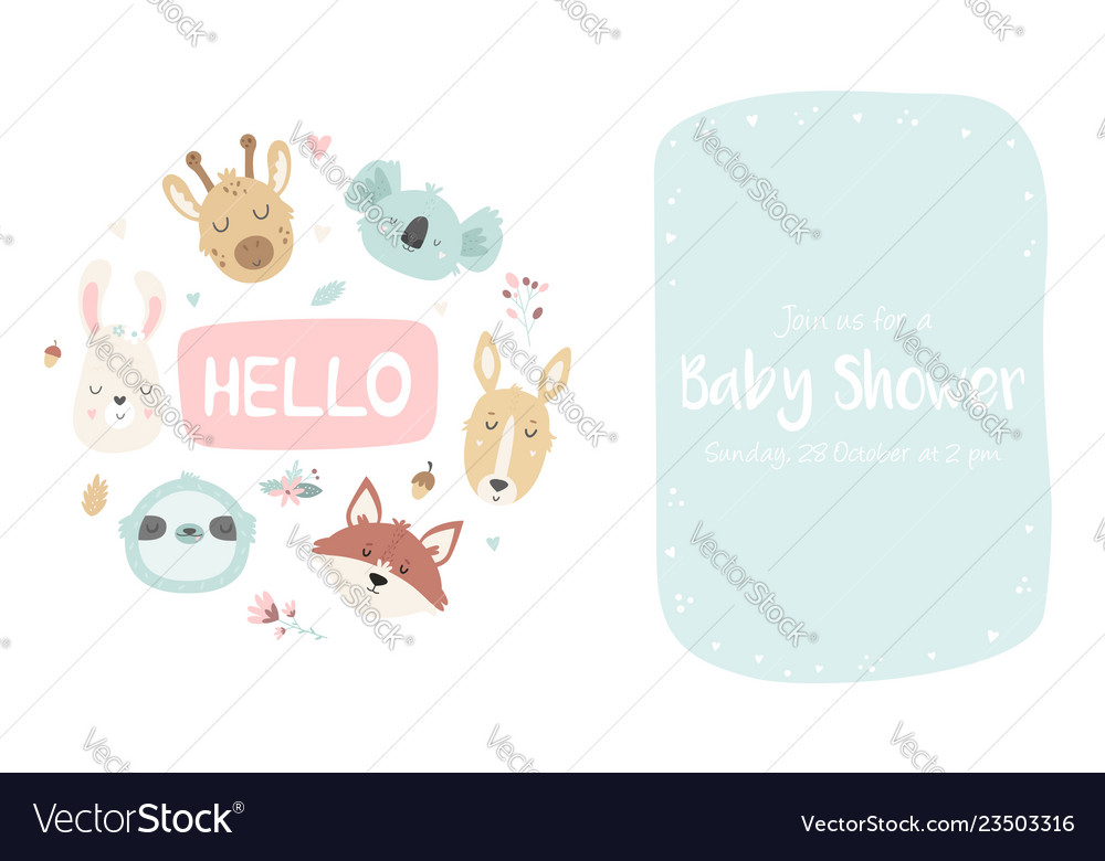 Baby shower invitation with cute animals