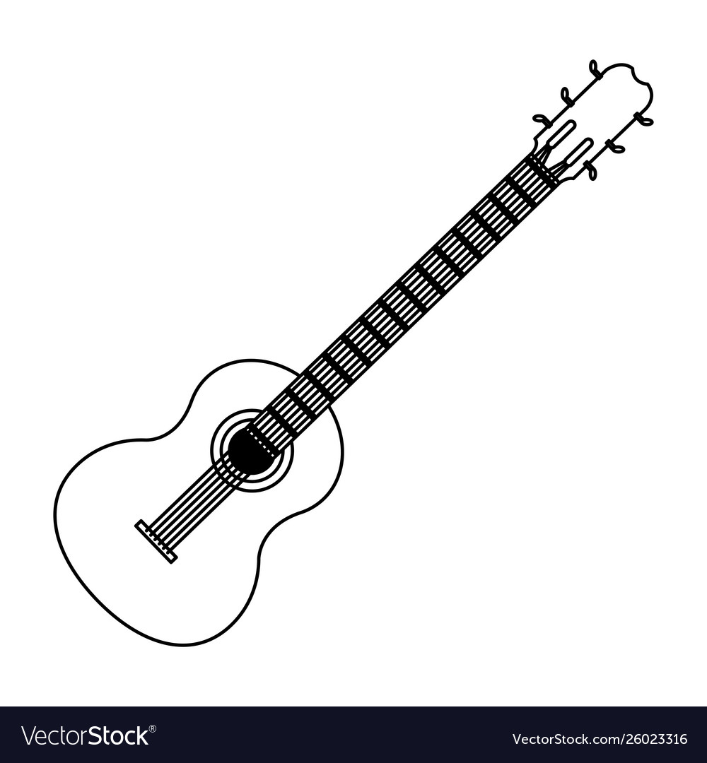 Guitar Acoustic Icon Cartoon In Black And White Vector Image