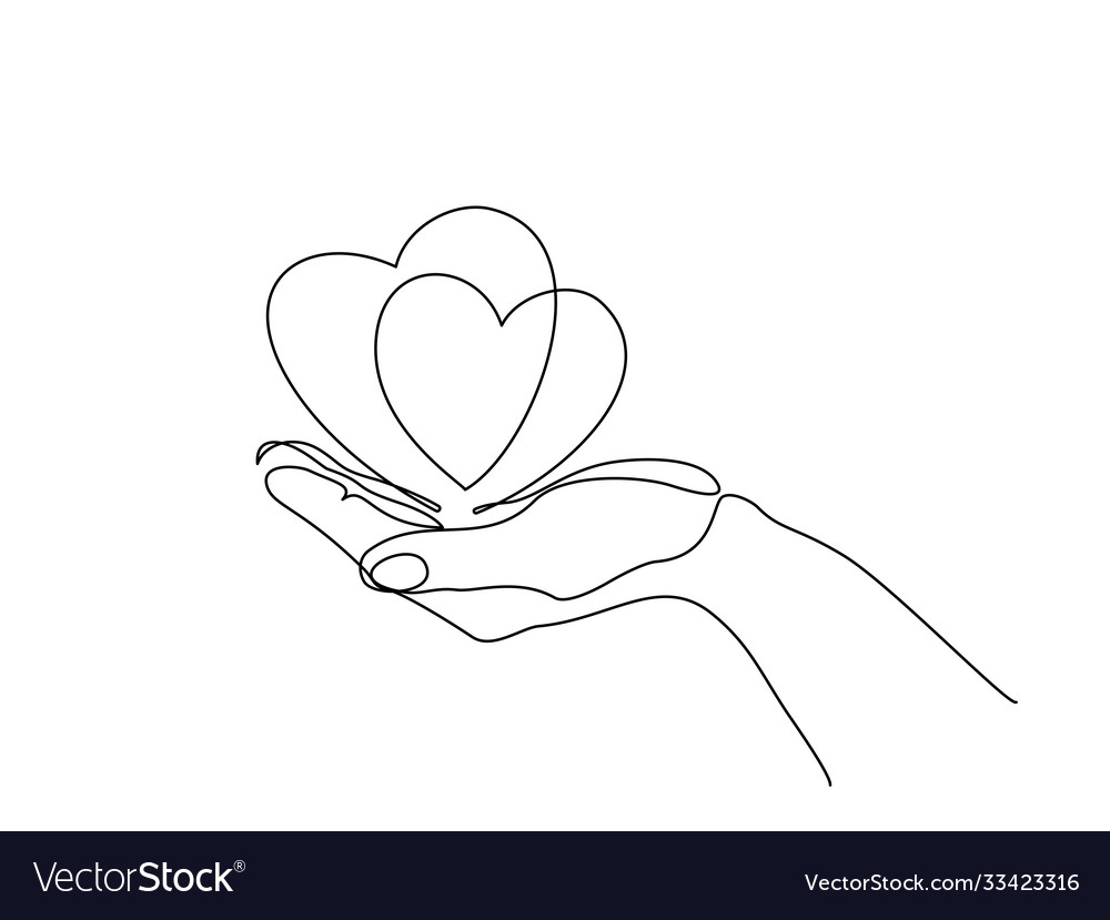 Hand holding heart sign continuous one line art