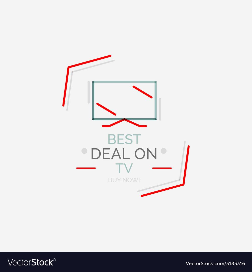 Minimal line design shopping stamps TV vector image