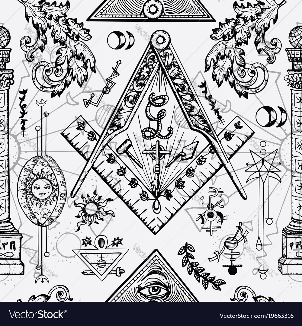 Seamless Background With Freemason Symbols Vector Image