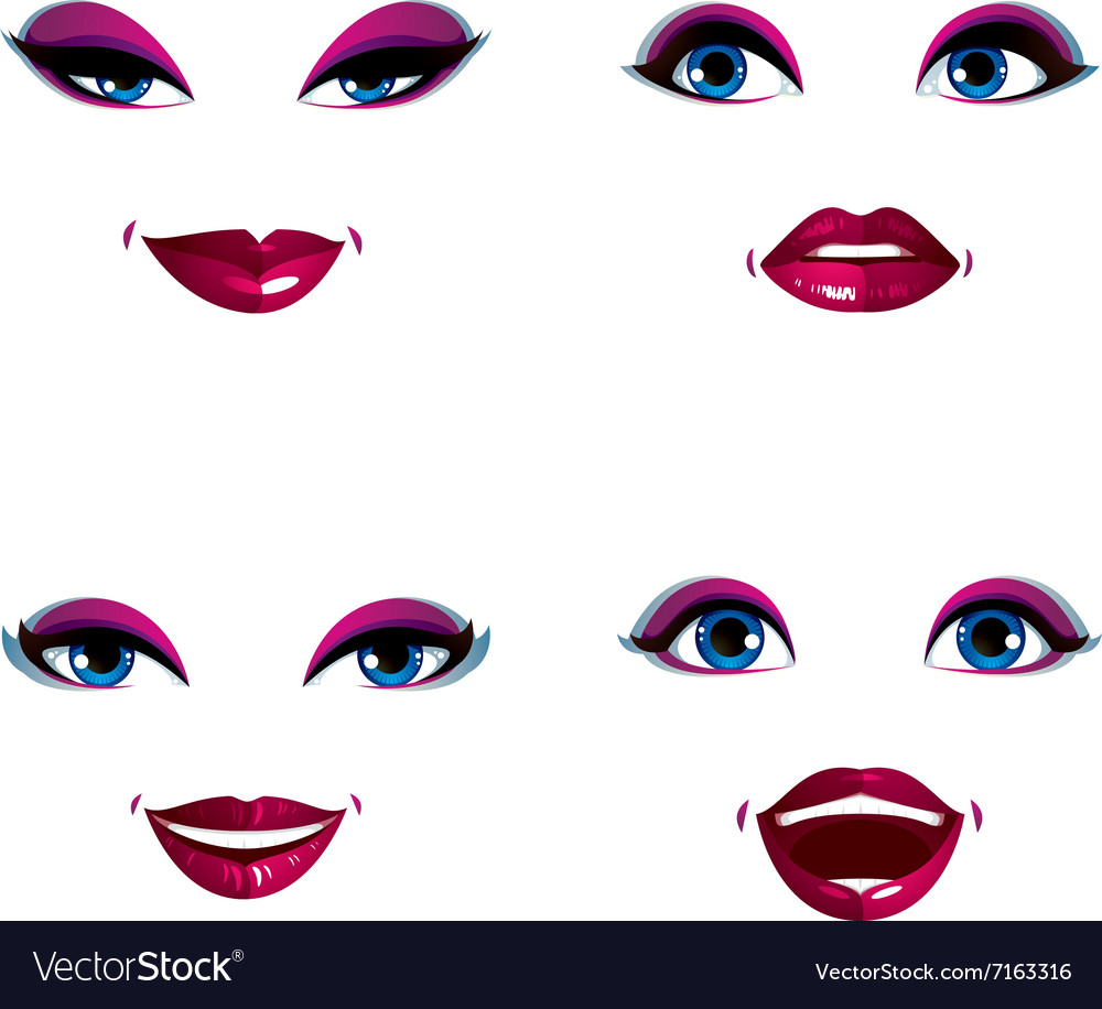 Set of beautiful female visage with stylish makeup
