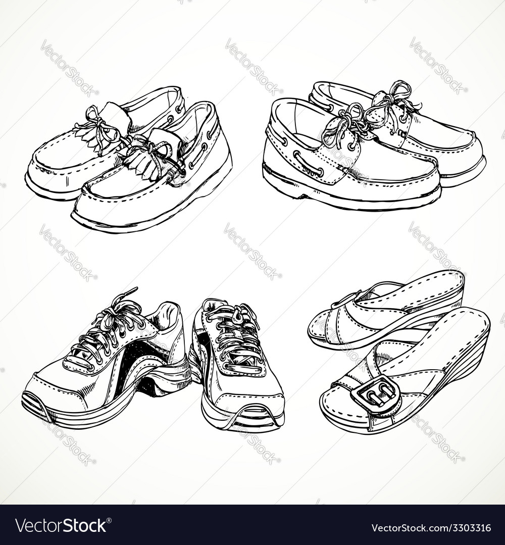 Sketch of shoes for men and women moccasins