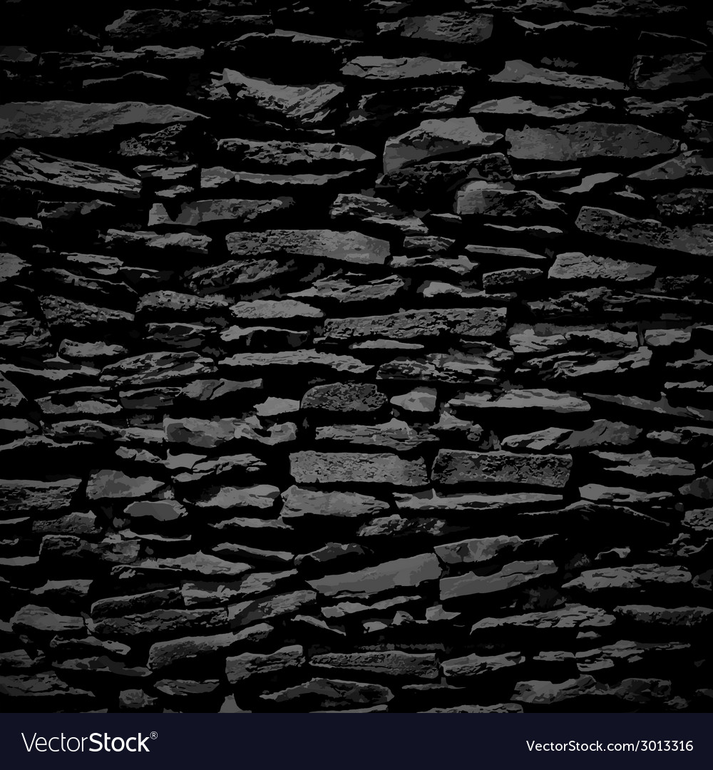 black stone wall texture smooth stone wall black relief texture with shadow vector image