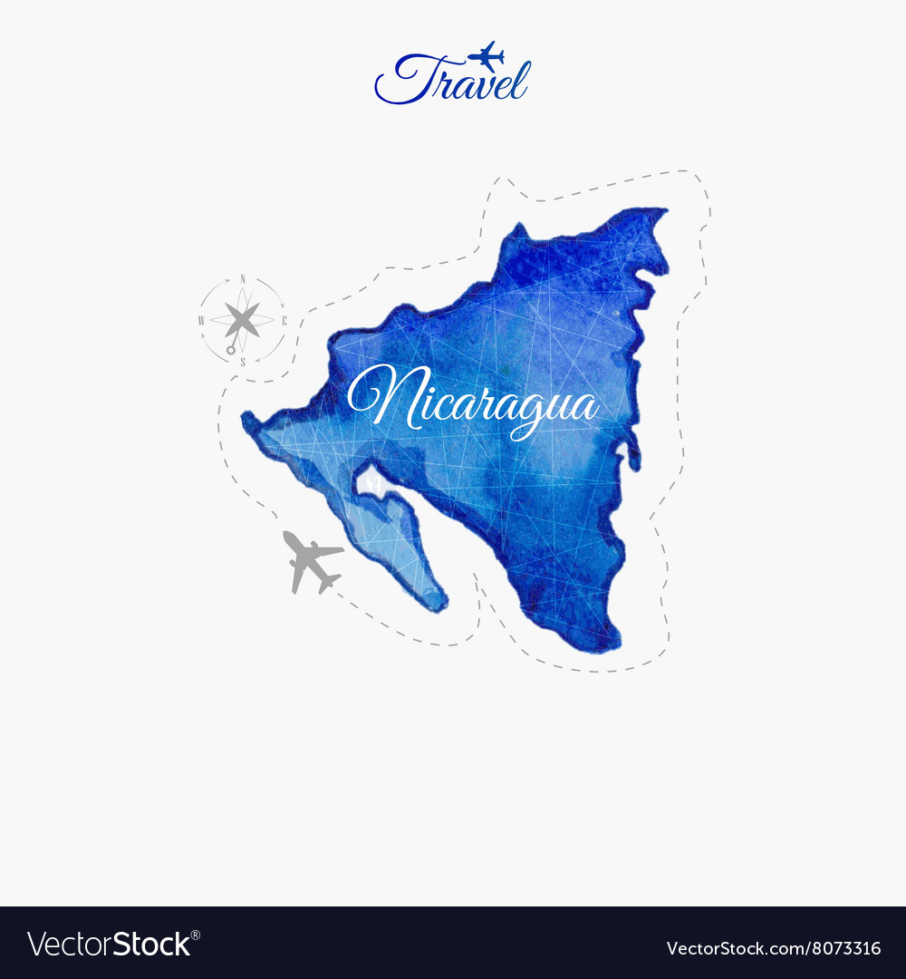 Where Is Nicaragua Located On A World Map.Travel Around The World Nicaragua Watercolor Map Vector Image