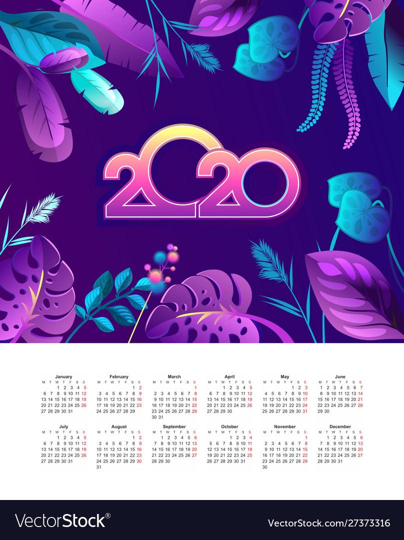 Tropical calendar 2020 jungle