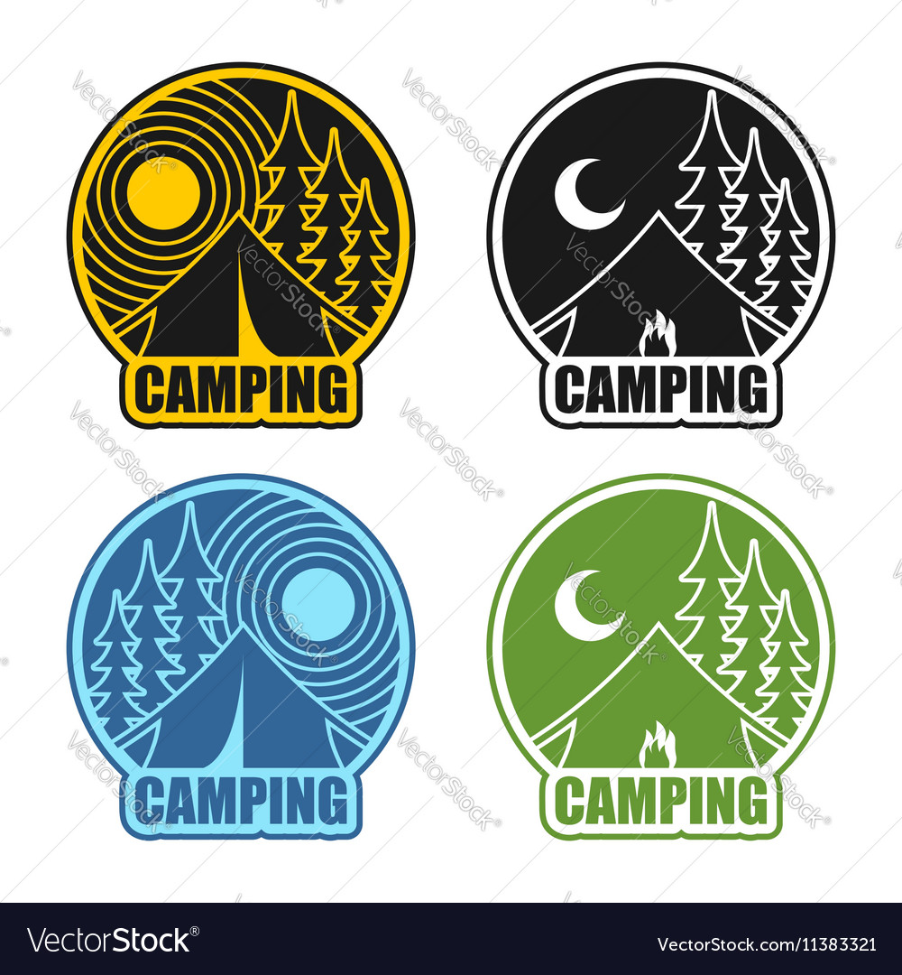 Camping logo day and night Landscape with tent and