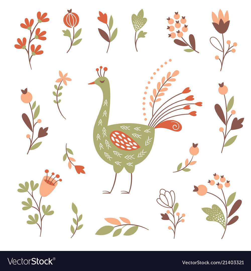 Decor floral elements bird set on white