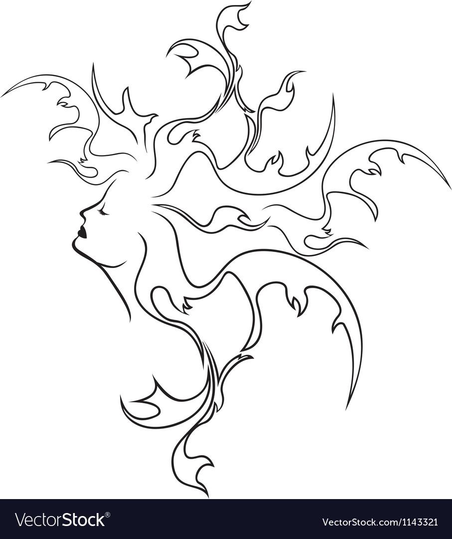 Fantasy girl profile black stencil