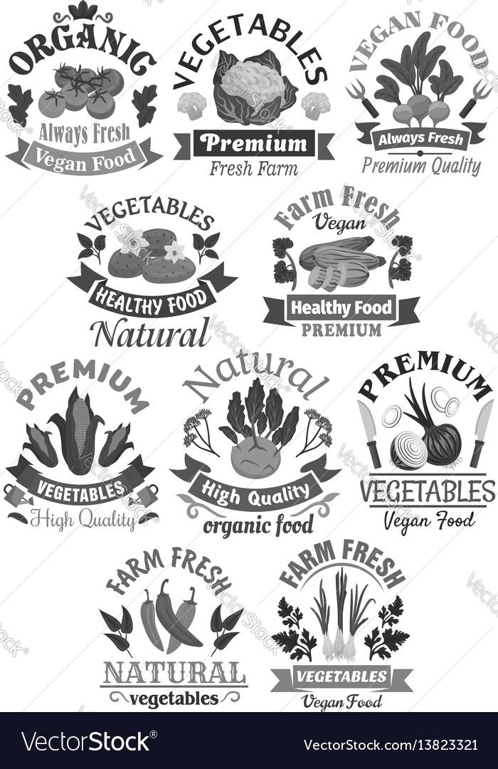 Farm veggies or vegetables icons